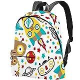 Kinder Mini Rucksack Raumschiff Rockets Galaxy Planet Spielzeugroboter Kinderrucksack Animal Schule Tasche Rucksack for Kinder Baby Jungen Mädchen Kleinkind 2-6 Alter 44x35x14 CM