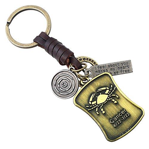 Adisaer Leder Schlüsselanhänger Metalllegierung Schlüsselbund Herren Damen 12 Sternbilder Cancer Schlüsselringe für Frauen, Männer 1PCS Retro Anhänger