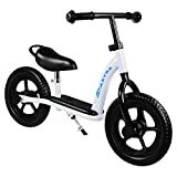 MAXTRA 12inch Kids Balance Bike Lightweight Sports No Pedal Walking Bicycle with Adjustable Handlebar and Seat for Ages 2 to 7 Years Old (Footrest White)