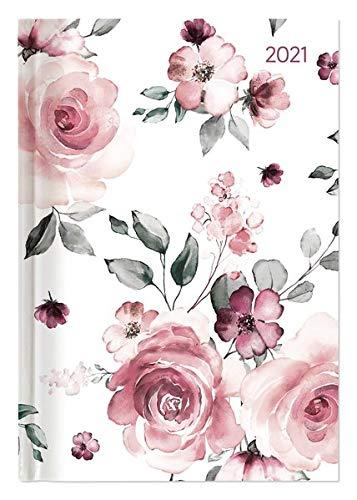 Buchkalender Style Roses 2021 - Büro-Kalender A5 - Cheftimer - 1 Tag 1 Seite - 352 Seiten - Rose - Alpha Edition