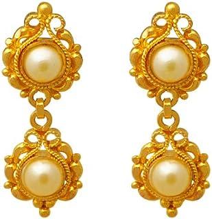Lagu Bandhu 22k (916) Yellow Gold and Pearl Drop Earrings for Women
