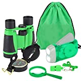 VGEBY1 Juego de binoculares de 6 Piezas, Juego Educativo de prismáticos de Juguete con Linterna de manivela, brújula, Lupa, Mochila con cordón, Silbato para niños, niños(Verde)