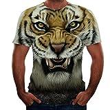 Moda Unisex Tigre 3D T-Shirt con Stampa Animalier Grafica Divertente Motivo Girocollo T-Shirt Manica Corta per Uomo Donna S