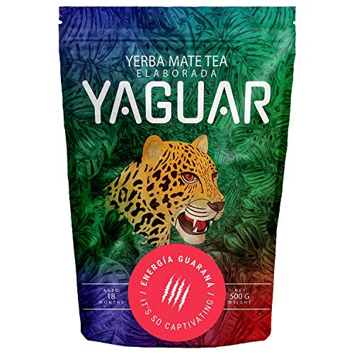 Yerba Mate Yaguar Energia Guarana 500g Yerba Mate Tee mit Früchten Mate Tee sehr reich an Koffein Glutenfrei Extra starke Stimulation