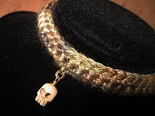 Crochet Multi Brown Choker with Carved Bone Tibetan Prayer Skull Bead, Crochet Necklace, Knit Necklace, Knit Choker