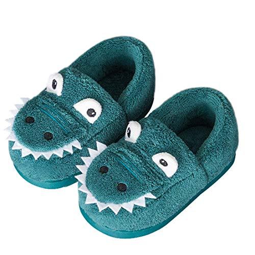 Haizhe Winter Slippers Kids Plush Warm Indoor Shoes Toddler Girls Comfort Bedroom Slippers Boys Anti-Slip House Shoes Outdoor, Blue, 4/4.5 Child UK