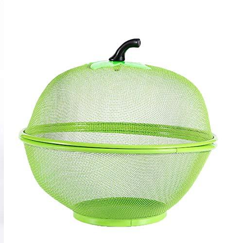 Batchelo Frutero Cestas de frutas frescas con forma de manzana cesta verduras y frutas frescas caja almacenamiento con soporte drenaje y tapa a prueba mosquitos para cocina 26 x 23 cm verde