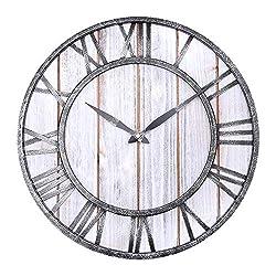 WarmieHomy Wall Clock Rustic Decoration 3D Roman Numerals Atomic Wall Clock,16 Wall Clock Home Decor Analog Black Metal Clock ,Wall Clock for Farmhouse/ Kitchen/ Living Room/Bedroom/Shelf (White)