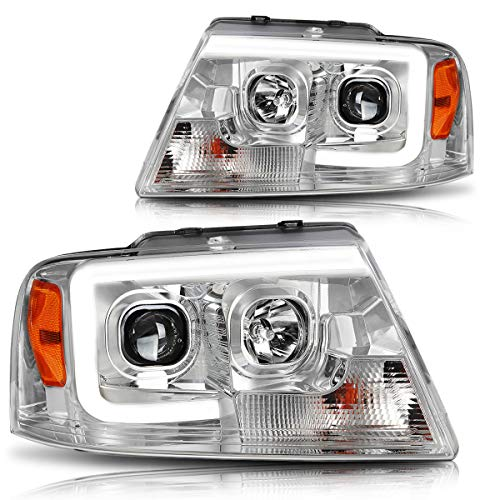 3D LED DRL Projector Headlight Assmbly Compatible with Ford F-150/ Mark LT 04-08 Headlamps Chrome Housing Amber Corner
