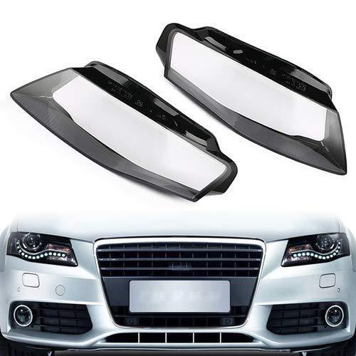 DZWLYX 1Pair vorne Links Amp Rechts-Auto-Scheinwerfer-Objektiv-Licht-Abdeckung gepasst for Audi A4 B8 2008-2012 Auto-Scheinwerfer Objektivdeckel (Color : Black)