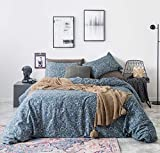 SUSYBAO 3 Piece Duvet Cover Set 100% Cotton King Size Teal Bohemian Floral Bedding Set with Zipper Ties 1 Paisley Duvet Cover 2 Boho Chic Pillowcases Hotel Quality Soft Comfortable Easy Care