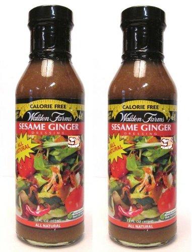 Walden Farms Calorie Free Dressing: Sesame Ginger (Pack of 2) 12 oz Bottles