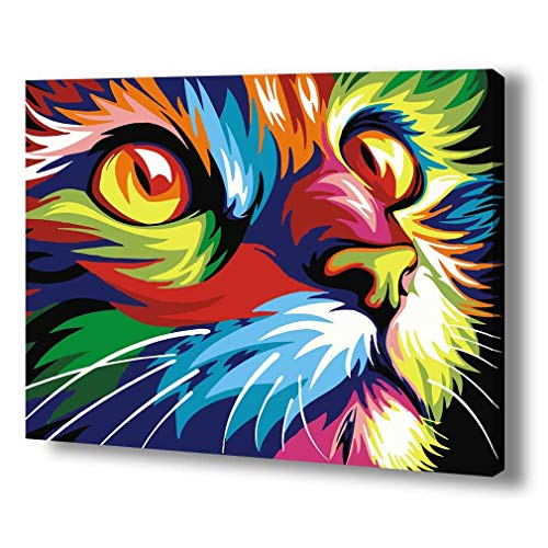 TwoSteps Paint By Numbers For Adults Kids Paint By Number Kits Rolled Canvas Fine Paintbrushes DIY Painting By Numbers 16x20inch (16x20inch No Frame Rolled Canvas, Abstract Colourful Cat)