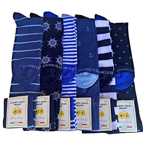 Lucchetti Socks Milano 6 paia calze uomo lunghe estive in diverse fantasie, cotone mercerizzato fresco e leggero Taglia Unica (Set Vela)