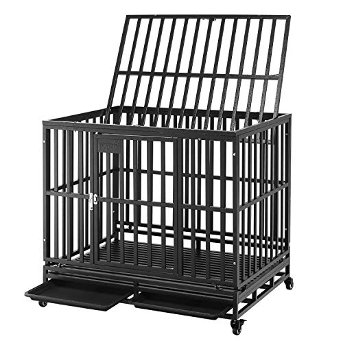 4. PUPZO Dog Cage Crate Kennel Heavy Duty for Large Dogs