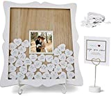 Oak letters White Wedding Guest Book Alternative Drop Top Frame | Custom Photo Insert | 85 White Hearts, Sign, Easel | Baby Shower, Bridal Shower, Funeral, Graduation Guest Book Sign in |