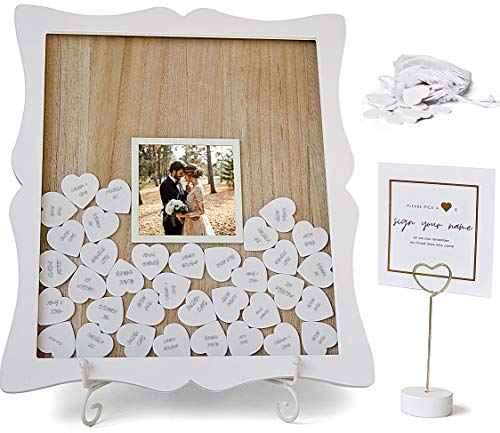 Oak letters Genuine Guest Book Alternative Heart Drop Frame | Custom Photo Insert | 85 White Hearts, Sign, Easel | Baby Shower Guest Book | Sign in Bridal Shower Guestbook