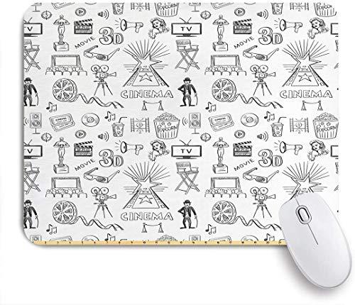 SUHOM Gaming Mouse Pad Rutschfeste Gummibasis,Hand gezeichnete Art Kino Design und alte Kamera Kino schwarz und weiß,für Computer Laptop Office Desk,240 x 200mm
