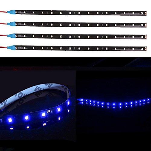 TABEN Lot de 4 bandes lumineuses LED flexibles 12 V pour voiture et moto 30 cm Bleu 1210-15SMD