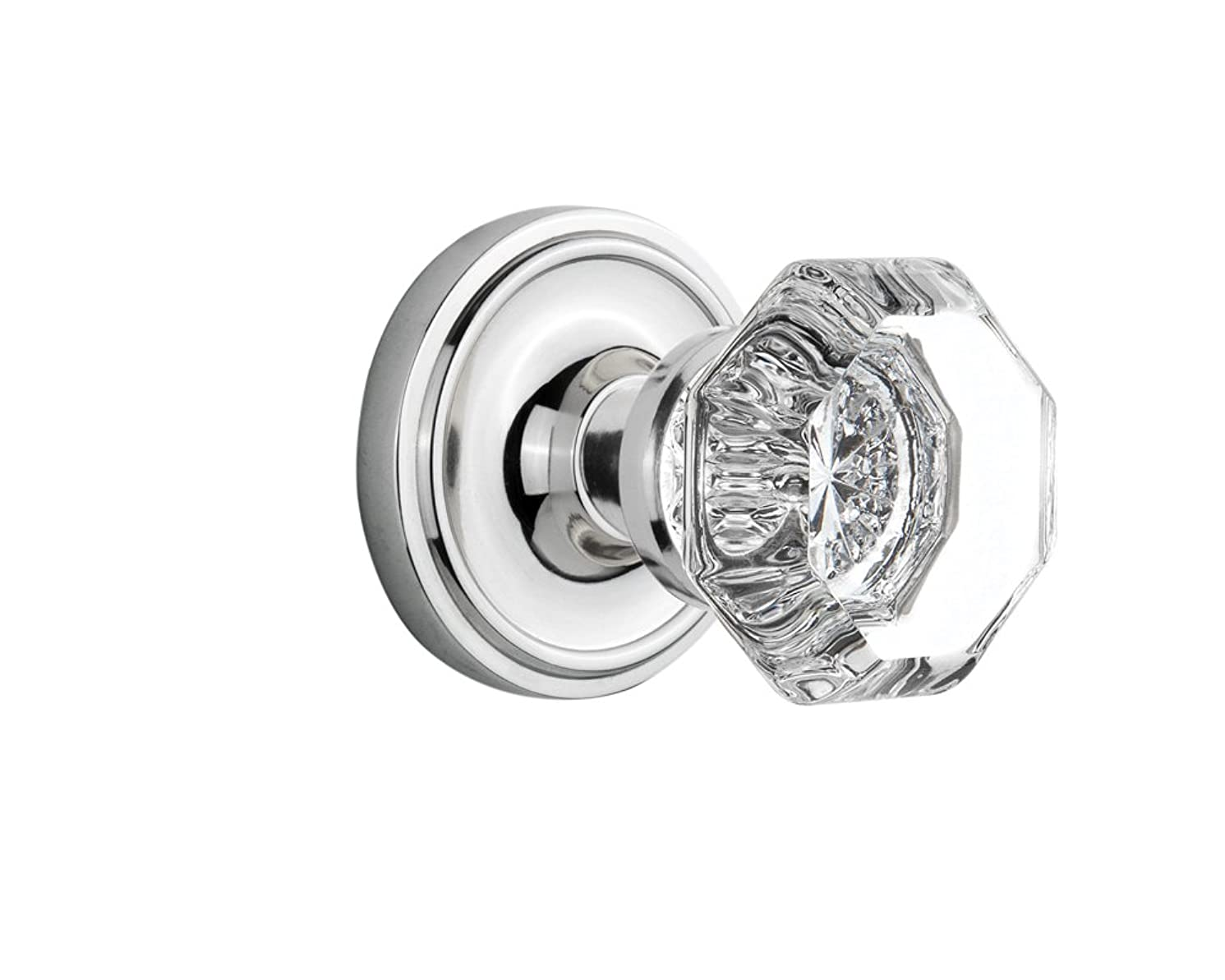 Nostalgic Warehouse Classic Rosette with Waldorf Crystal Door Knob, Double Dummy, Bright Chrome