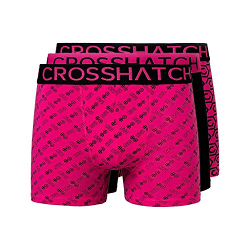 CrossHatch Herren Boxershorts, 3er-Pack, Multipackung Gr. L, schwarz/pink