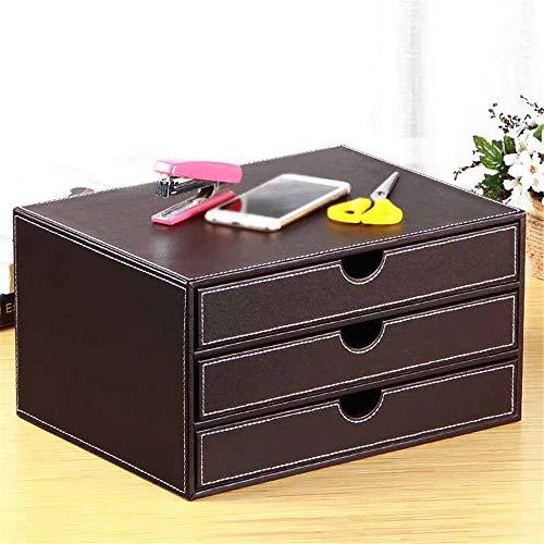 Ablagefächer DREI-Schicht-Leder Desktop-Aktenschrank A4 Papier Datenschrank Bürobedarf Schubladenschrank Holz Organisatoren für Schreibtischbedarf (Color : Coffee, Size : 35x25x18.5cm)