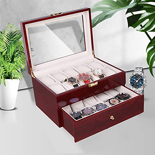Nisorpa Wood Watch Box, 20 Slots Glass Top Mens Watch Display Case Watch Box Organizer For Men Women Jewelry Storage Case With 20 Removable Soft Cushions Collection Boxes
