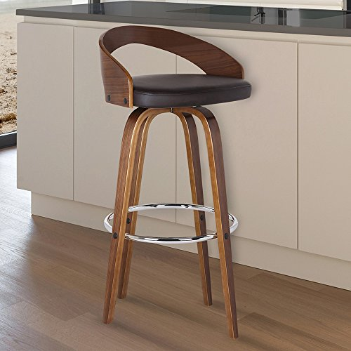 Armen Living Sonia 30' Bar Height Barstool in Brown Faux Leather and Walnut Wood Finish