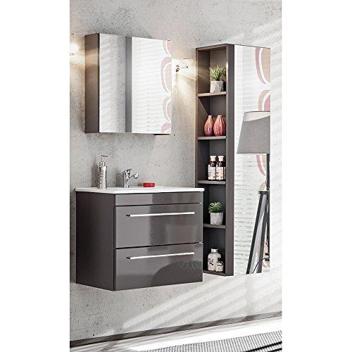 Lomadox Badmöbel Set 3-teilig in Hochglanz Graphit inkl. Keramik Waschbecken, Waschbeckenunterschrank, Spiegel-Hochschrank und Spiegelschrank