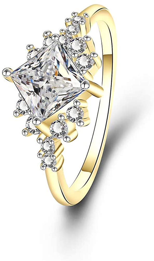 YAZILIND Statement Wedding Ring Gold Plated Square Cubic Zirconia Engagement Jewelry Gift