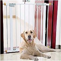 ベビーゲート フェンス ドア付き 金属アジャスタブル赤ちゃんペットの安全ゲート階段ゲート自動近い圧力では、マウント拡張は、背の高い80センチメートル幅が160センチメートルに68から選択することができるスタンド (Color : White, Size : 118-125cm)
