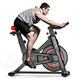 OUNUO Exercise Bike (2020 Upgraded Version), Studio Quality, LCD Displays, Heart Rate Monitor, Large Bidirectional Flywheel, Stationary, Belt Drive, Resistance Adjustment (Black)