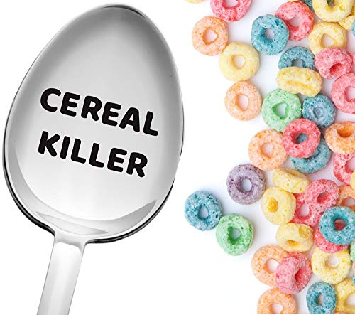Cereal Killer Spoon by Weenca Engraved Large Cereal Spoon Clear Visible Text Made in Italy from 18/10 Stainless Steel Perfect for Cereal Lovers