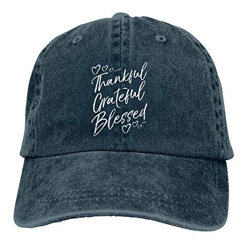 """Gorra de mezclilla con texto en inglés """"Grateful Thankful Bless"""" para papá de béisbol ajustable y clásico para hombres y mujeres"""
