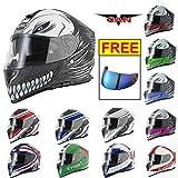 VCAN V127 DVS Full Face Helmet New Sports Touring Racing Helmets ECE ACU Gold Approved Helmets Razor Red L(59-60cm) With Free Extra Iridium Visor