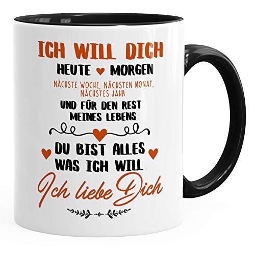 MoonWorks® Kaffeetasse Ich will dich heute und morgen ich liebe dich Geschenk Valentinstag Liebe Spruch schwarz unisize