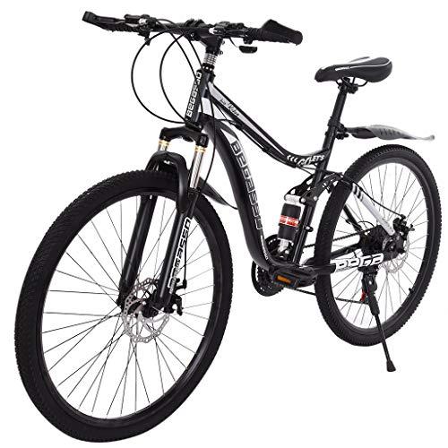 Hardtail Stone Mountain Bike,21 Speed MTB Bicycle, 26 Inch, Full Suspension,Premium Padded Saddle,for Men/Women (Black)