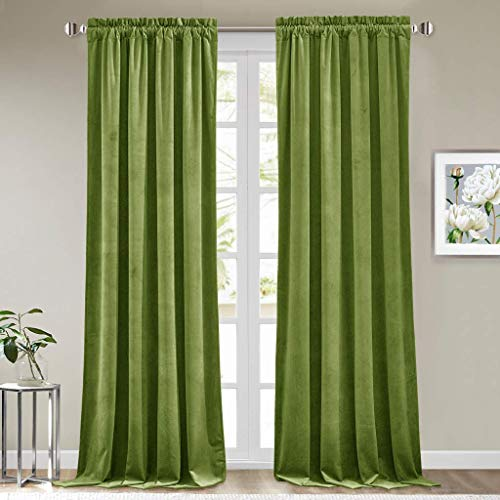StangH Olive Green Velvet Drapes - Heavy Velvet Blackout Curtain Panels Rod Pocket Winter Warm Curtains Christmas Decorative Draperies for Bedroom / Sliding Door, 52 x 96 inches Long, 2 Panels