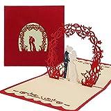Vegena Hochzeitskarte 3D, Karte zum Valentinstag Pop Up Karte Muttertag Hochzeitsgeschenk Karte Hochzeit Muttertagskarte, Geschenkkarte für Frauen Freundin Liebhabers inkl. Umschlag