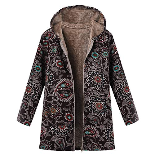 Women Coat Parka Vintage Floral Plaid Print Hooded Warm Outwear Flannel Lining Zipper Loose Jacket Hoodie Overcoat