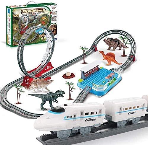 Control remoto Coche para niños 8-12, Simulación Pista eléctrica Dinosaurio, 3-10 años Boys Girls Kids Dinosaur Forest Scene Tren de riel de alta velocidad DIY desmontable y ensamblado Juguete educati
