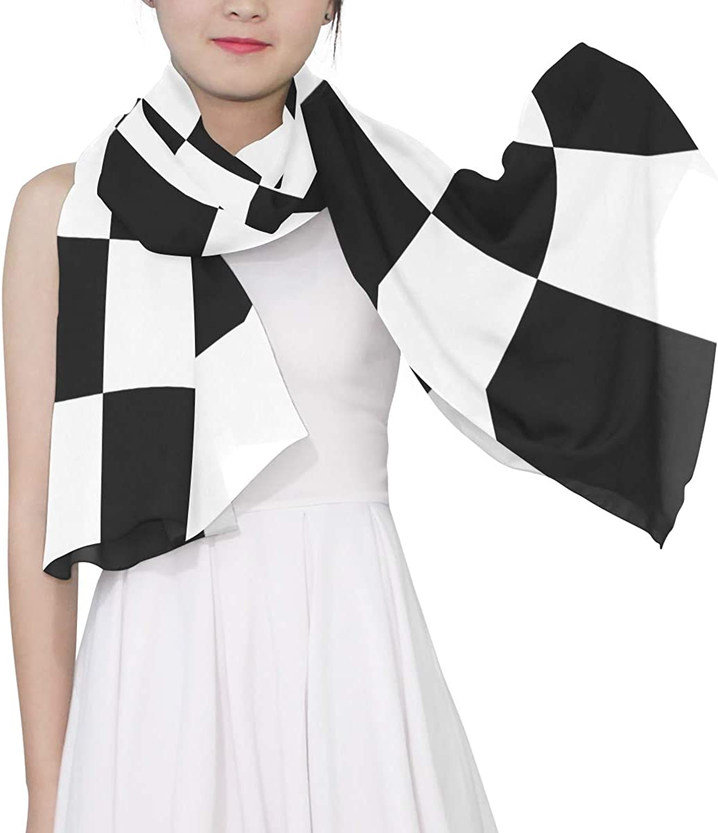 Black-and-white Lattices Unique Fashion Scarf For Women Lightweight Fashion Fall Winter Print Scarves Shawl Wraps Gifts For Early Spring