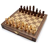 10-Inch Wooden Chess Board Game Set with Magnetic Chess Pieces & Storage Drawers. Classic Portable & Travel Strategy Family Board Game for Kids & Adults