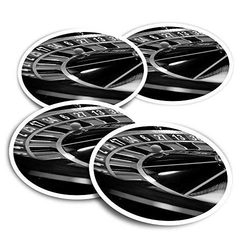 Pegatinas de vinilo (juego de 4) 10 cm – BW – Ruleta Rueda Casino Divertidas Calcomanías para Portátiles, Tabletas, Equipaje, Reserva de desechos, Frigoríficos #39421