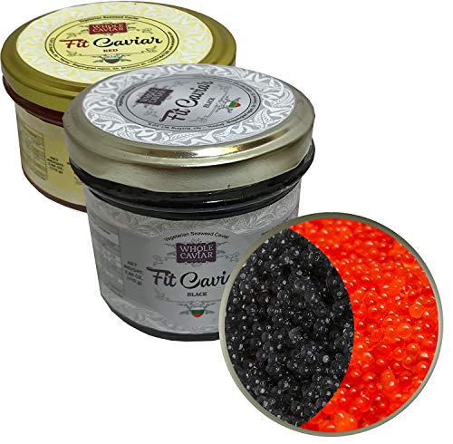 Black & Red Caviar - Vegetarian Seaweed Caviar from Salmon Roe for Pescetarians - Best Caviar for Sushi - Russian Style - Fit Caviar, 3.88 Oz - 110 gr - Glass Jar (Pack of 2)