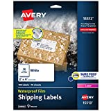 Avery Waterproof Shipping Labels with Sure Feed & TrueBlock 2' x 4', 100 White Laser Labels (15513)