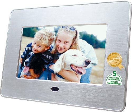 Rollei DF-7 Emotions Digitaler Bilderrahmen (17,8 cm (7 Zoll) Display, Diashow-Funktion, Aluminium-Design) mit Fernbedienung silber