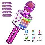 Wireless Bluetooth Karaoke Microphone Machine, Tesoky 4 in 1 Upgraded Led Lights Karaoke