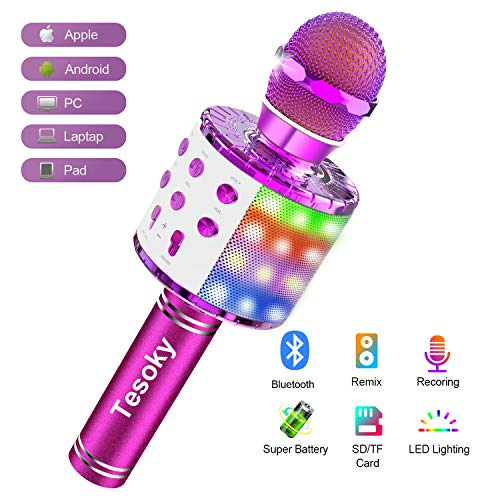 Wireless Bluetooth Karaoke Microphone Machine, Tesoky 4 in 1 Upgraded Led Lights Karaoke Machine Mic Hi-Fi Microphone Speaker System Home Party Time, Best Christmas Birthday Gifts for Kids Adult