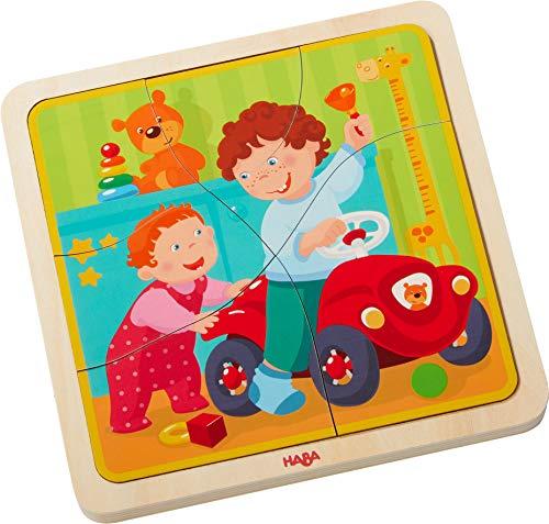 Holzpuzzle Mein Leben | Niedliches Kinderpuzzle und Motorikspielzeug ab 3 Jahren | Kleinkindspielzeug mit 4 hübschen Puzzlemotiven